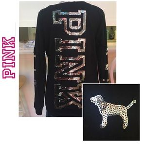 EUC PINK by VS Long Sleeve Tee With Sequins